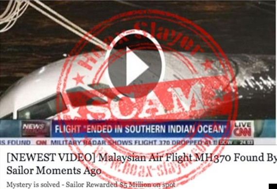 facebook mh370 scam