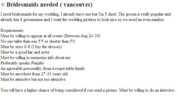 bridesmaid craigslist vancouver
