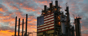 OIL REFINERY AMERICAN FLAG