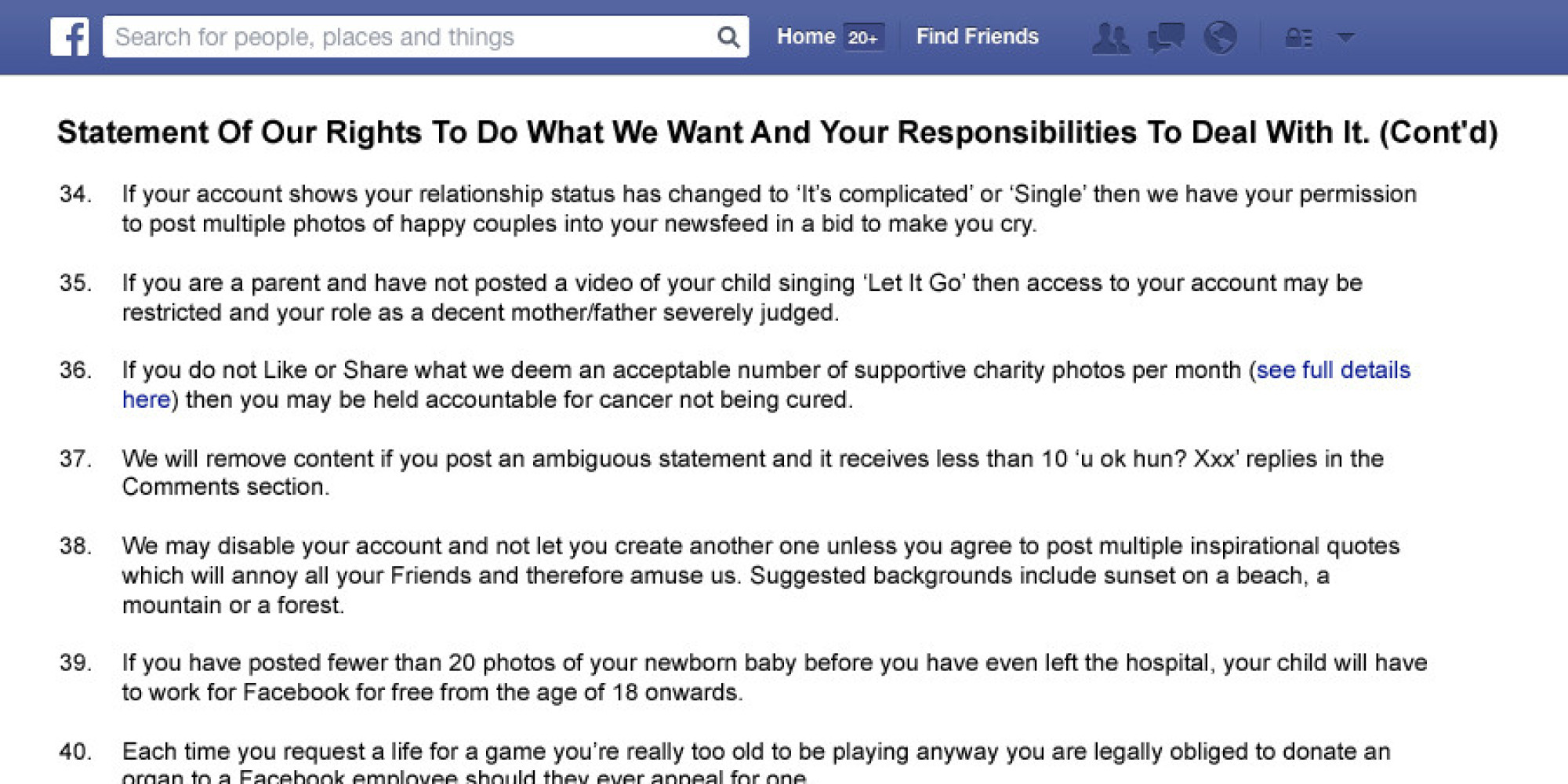 The Facebook Terms And Conditions You May Have Missed Huffpost Uk