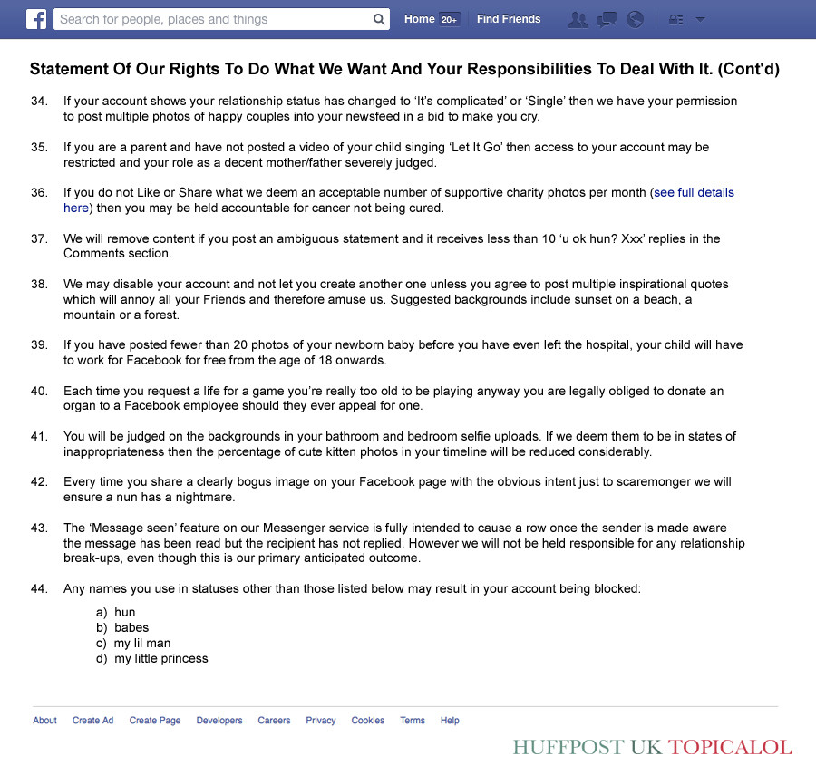 facebook terms and conditions spoof