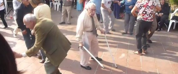 OLD MAN DANCES CRUTCHES