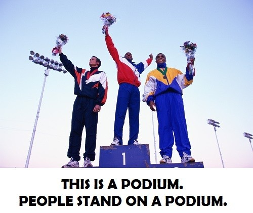 athletes on a podium