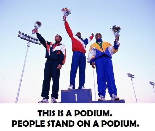athletes on a podium