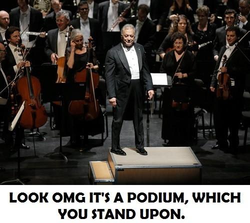 conductor on podium