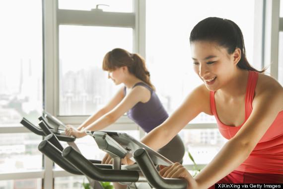 woman happy gym