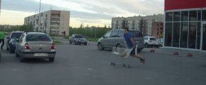 Funny Russian Supermarket Trolley Fail