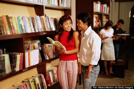book couple choosing