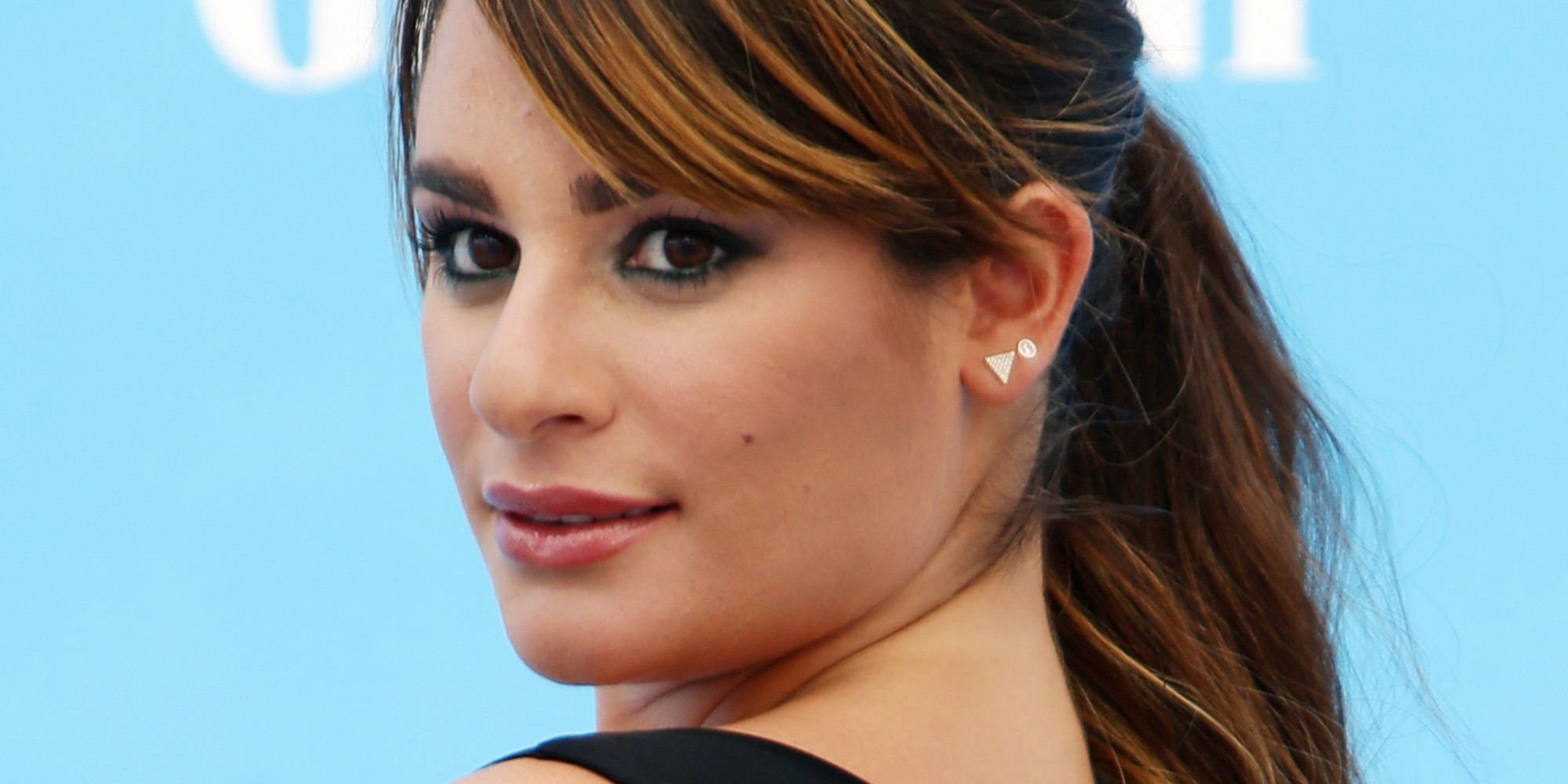 lea michele proves that the ponytail is anything but plain