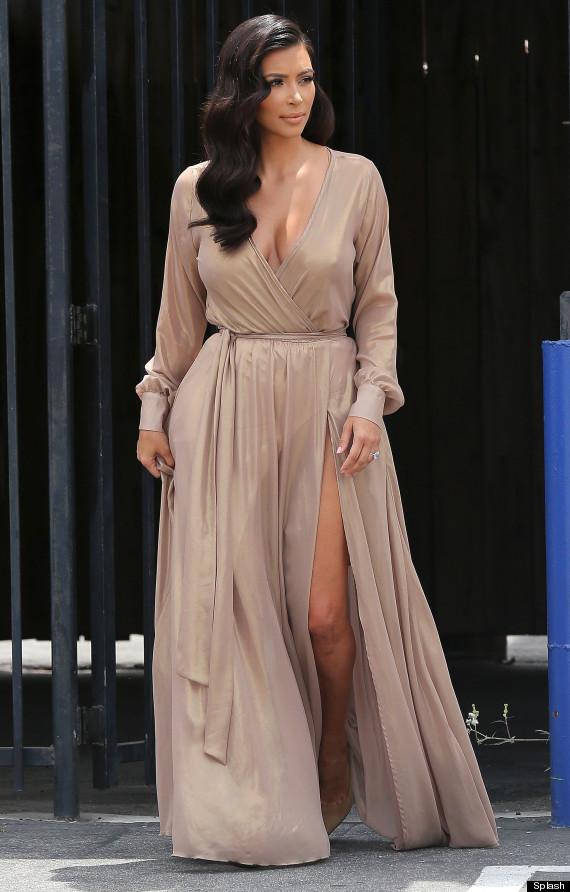 Kim Kardashian Wears Nude Dress With Thigh-High Slit | HuffPost
