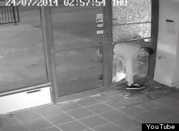 WATCH: Dumb Criminal Is Caught On CCTV Breaking Into Store - But Forgets His Escape Route