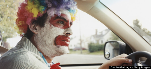 Clowns Helps Fellow Clown Who Crashed Into Pole