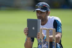 England cricketer Mark Ramprakash using an iPad