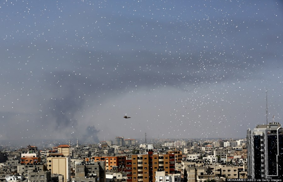 flyers are dropped over gaza