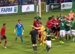 Four Sent Off As Violent Brawl Forces Referee To Abandon Northern Ireland V Mexico (Video)