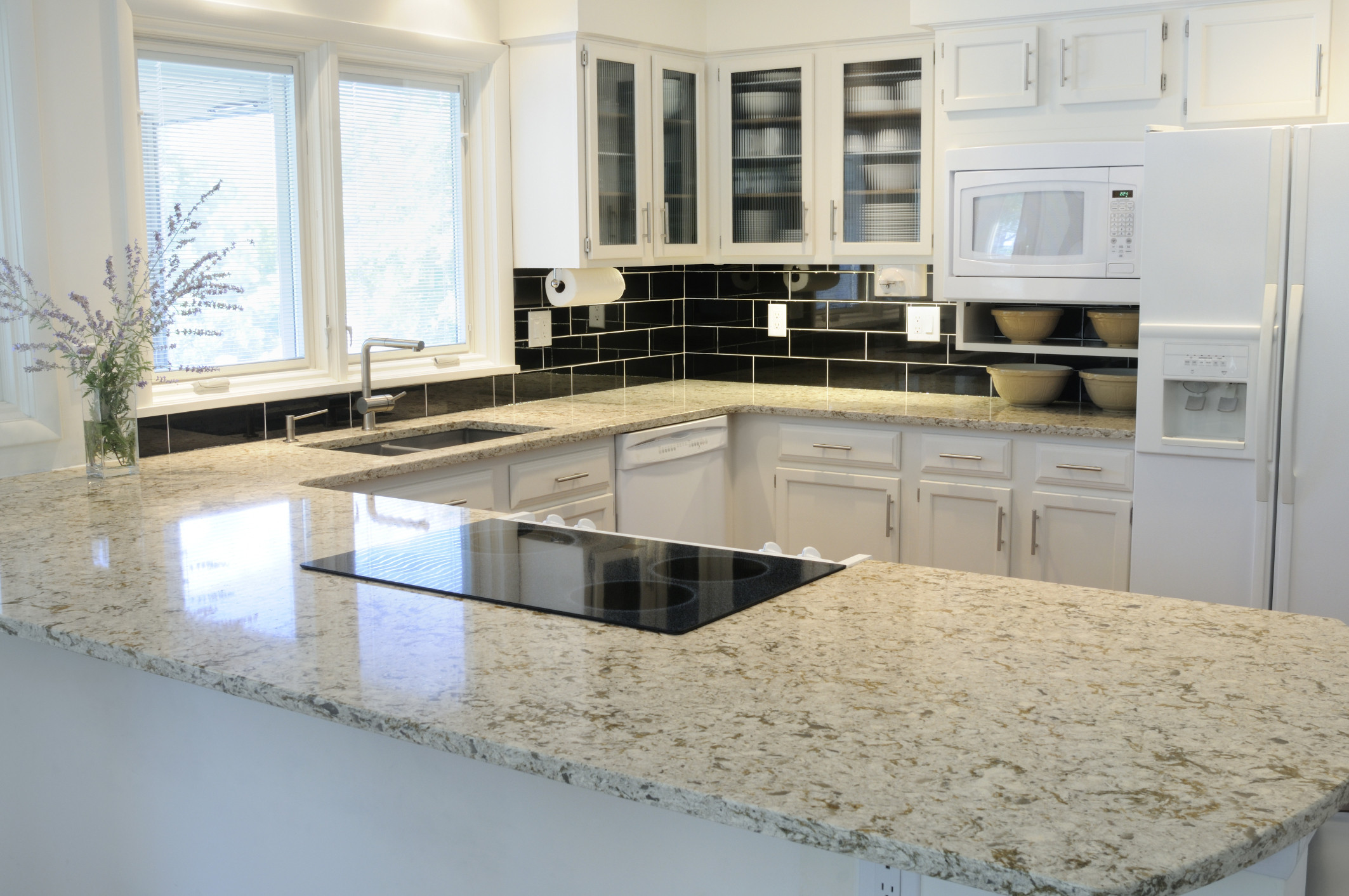 White Kitchen Granite Countertops