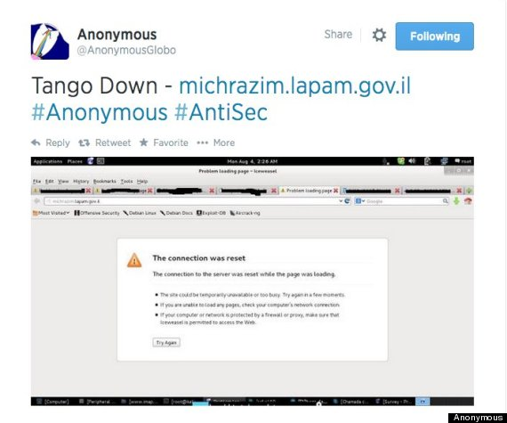 anonymous hacked hundreds of israeli websites