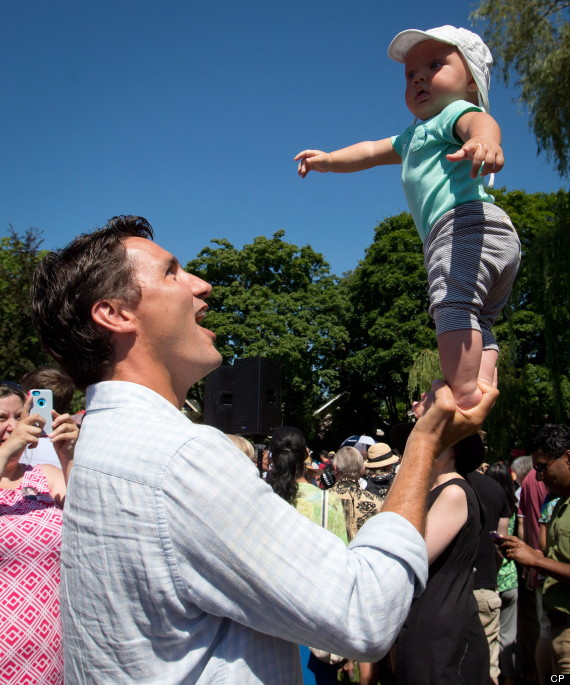 Justin Trudeau Balances Son On One Hand, But Can He Win ...