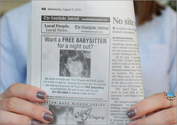Clever Dad Punishes Daughter With Free Babysitting Advertisement