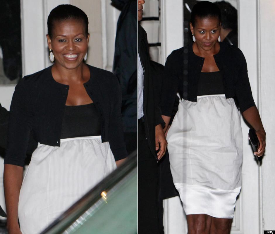 Michelle Obama Dons Black White Dress To Dinner On Marthas