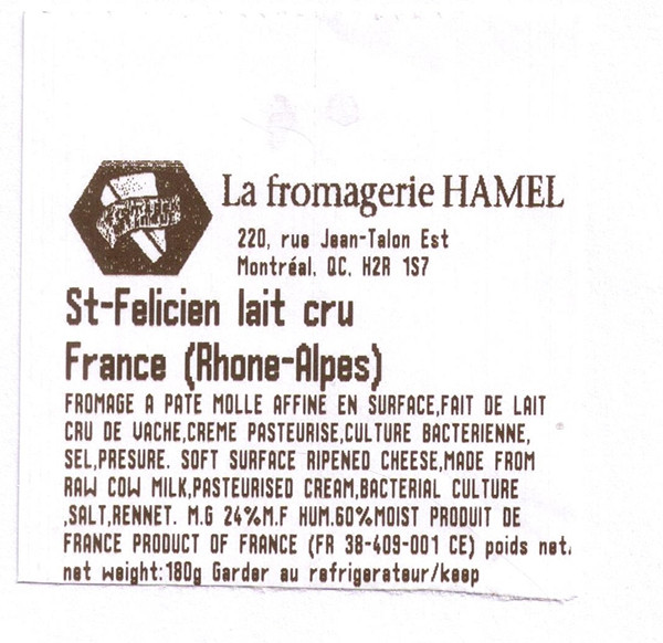 rappel fromagerie hamel