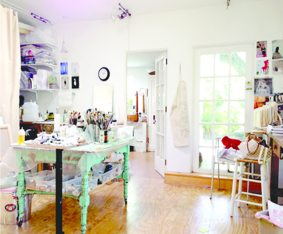 My Studio Is Filled With Light And Filled With All The Materials And  Supplies I Could Want In One Place. A Green Funky Table To Mix And Store My  Paints.