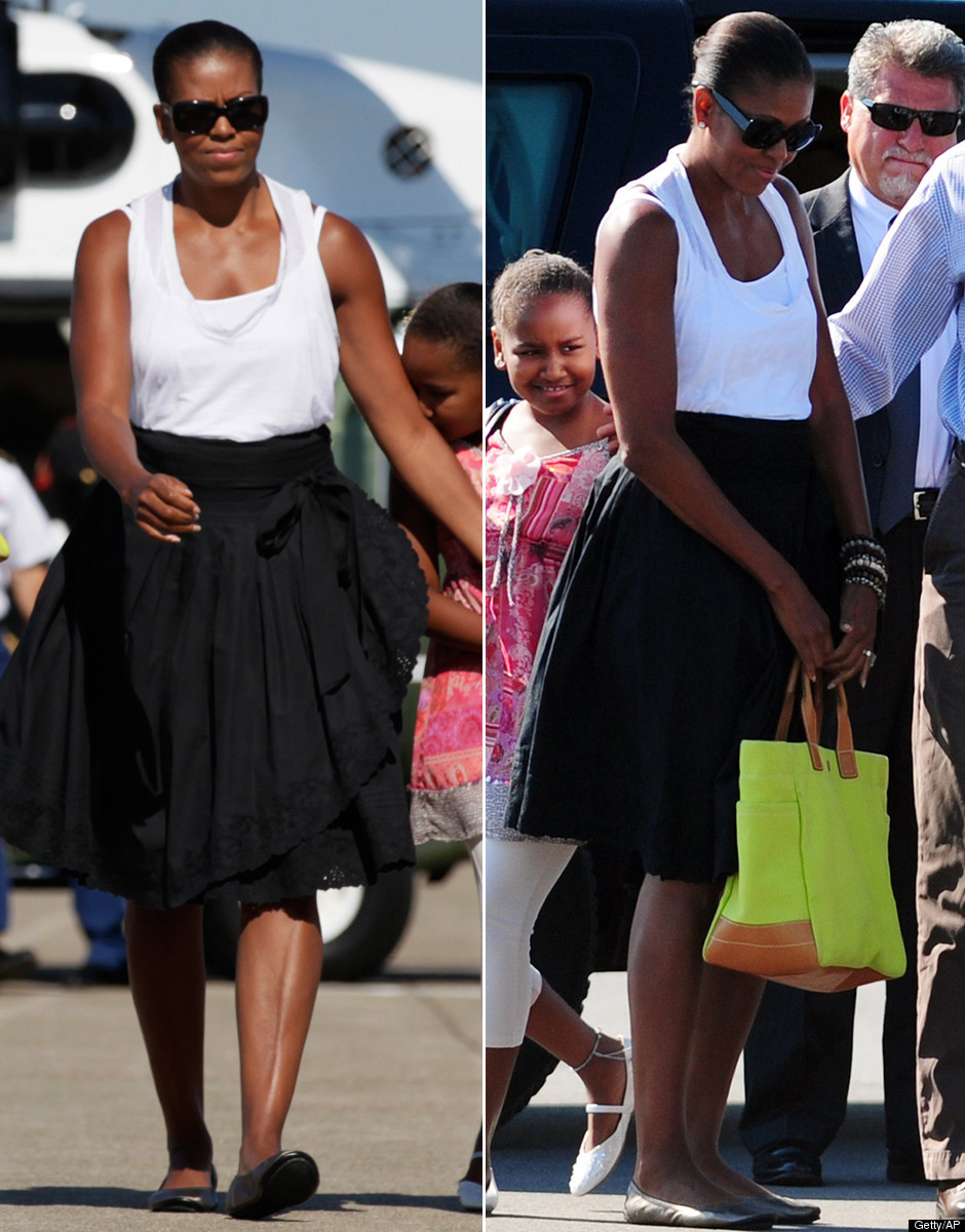 ... left Martha's Vineyard on Sunday and Michelle wore layered white tanks, ...