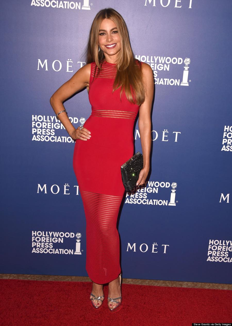 sofia vergara shows off her curves in super tight dress