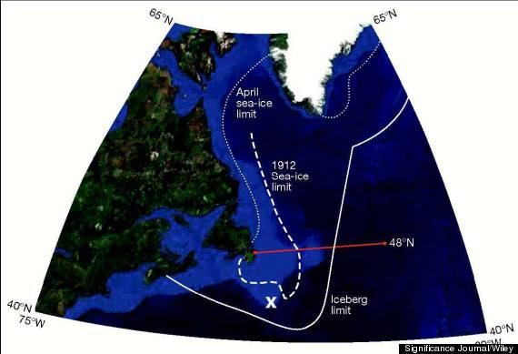 titanic iceberg track