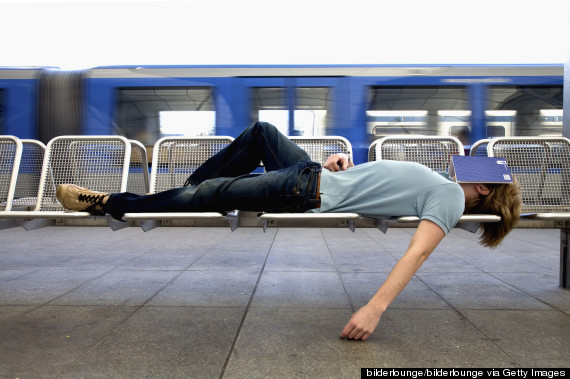 sleeping at a train station