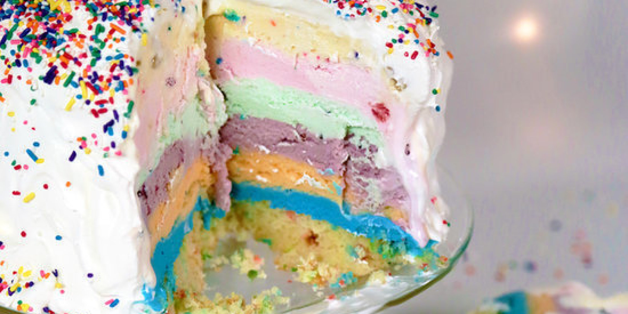 How To Make The Most Immaculate Rainbow Ice Cream Cake Of