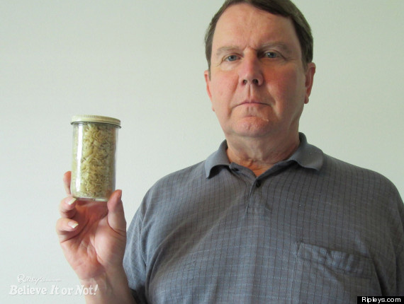 Richard gibson has kept all his nail clippings in a jar since 1978