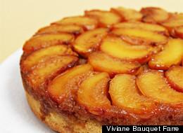 How To Make Peach Upside-Down Cake With Cognac Caramel