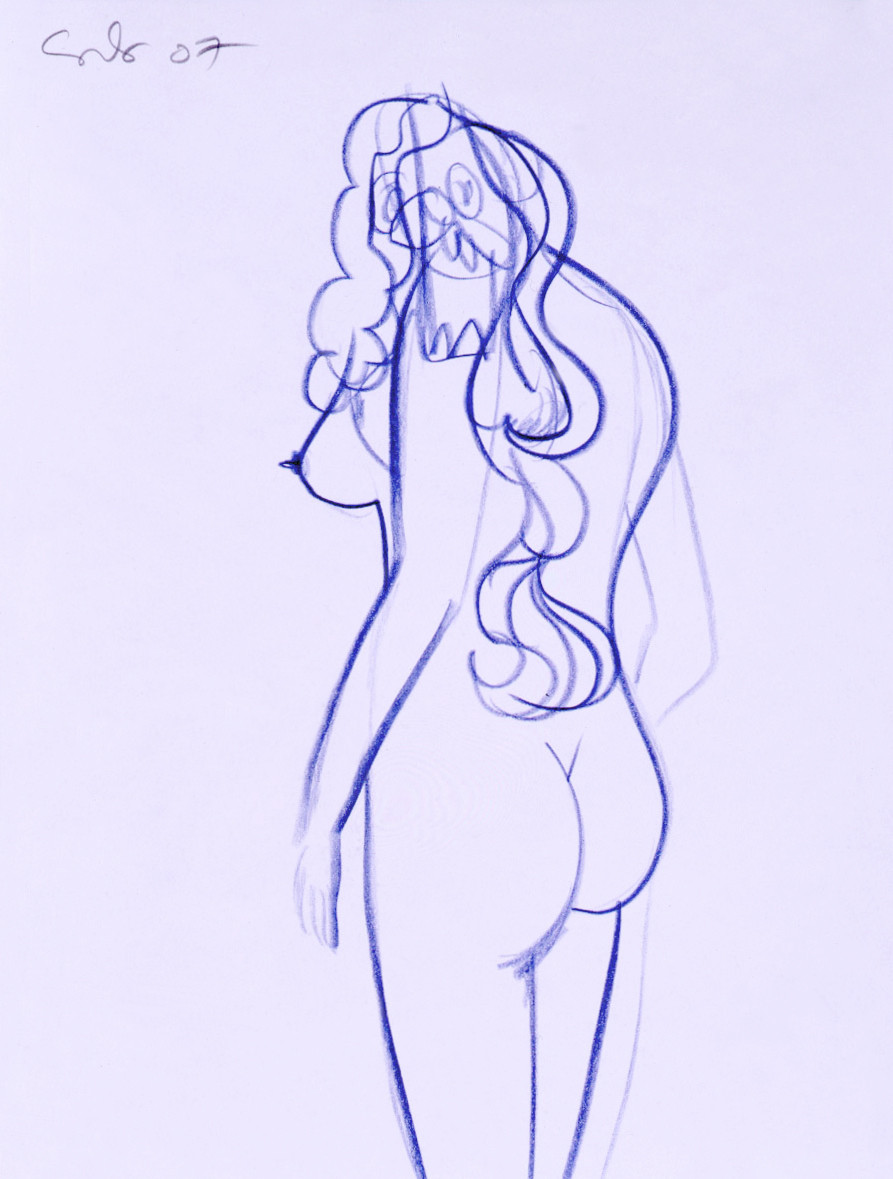 George condo nude study i 2007 blue pencil on paper 30 3 x 22 8cm courtesy simon lee gallery london private collection uk