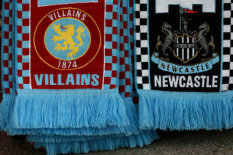Aston Villa and Newcastle United scarves | Pic: PA