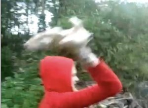 Girl Throwing Puppies