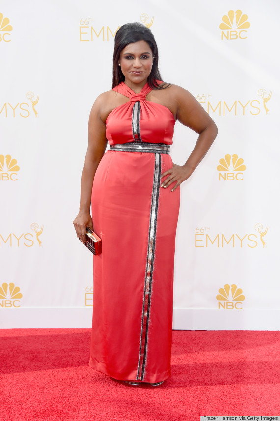 Mindy Kaling S 2014 Emmy Awards Dress Is A Disappointing Coral Look Huffpost Life