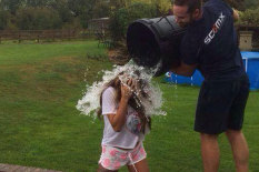 Celeb getting water tipped on her | Pic: Facebook