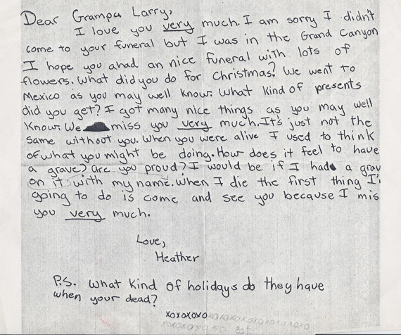 little girl writes adorable letter to grandpa after missing funeral picture