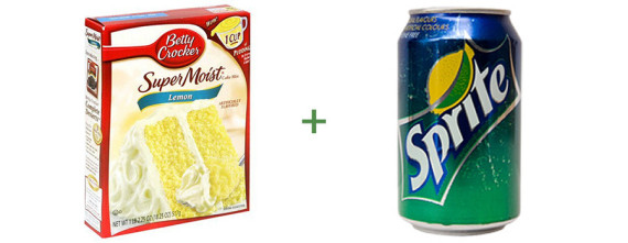 Box Of Cake Mix And A Bottle Of Soda