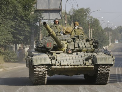 Pro-Russians with tanks