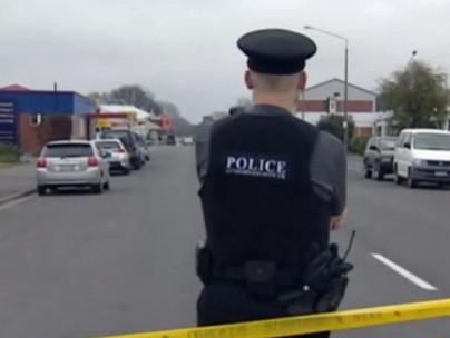 Policeman near scene of shooting