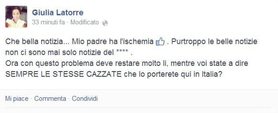 """Conosciuto La figlia del marò Massimiliano Latorre, Giulia: """"Italia di m  FC31"""