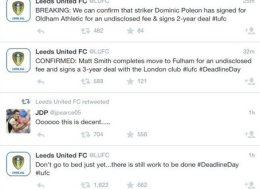 Going Down Together? Leeds Suffer Twitter Deadline Day Gaffe