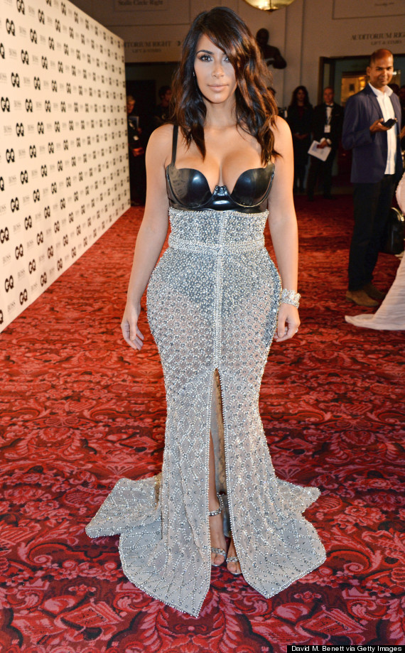 Kim Kardashian Stuns In A See-Through, Bustier Gown At GQ Men Of The ...