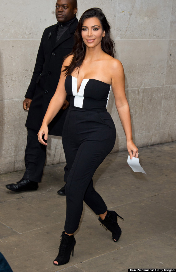 9977dcbaac94 Kim Kardashian Takes The Plunge (Again) In Black-And-White Jumpsuit ...