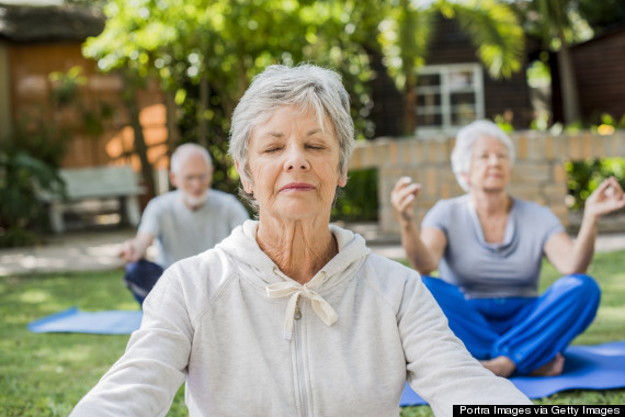 old person doing yoga