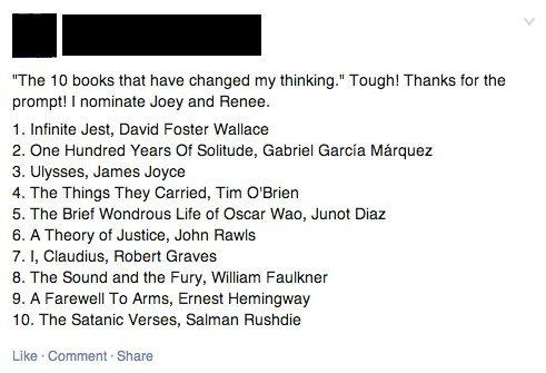 facebook favorite books