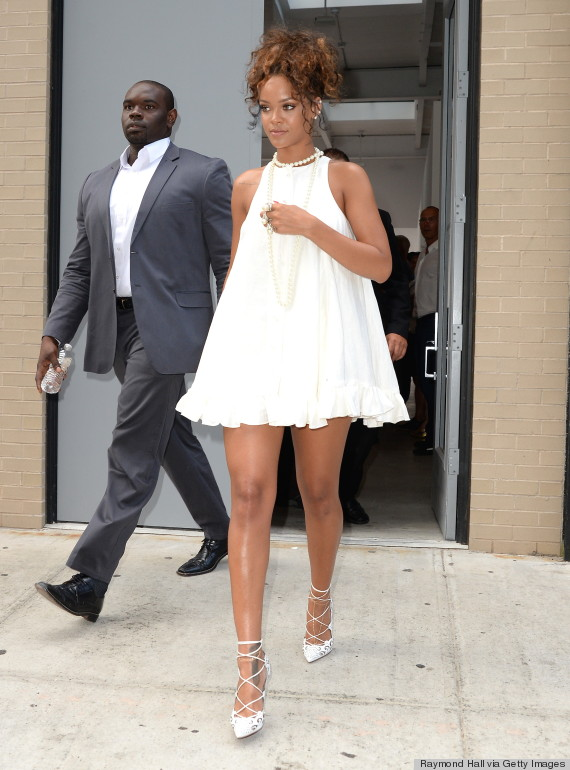 Rihanna Is All Legs In A Babydoll Dress At New York Fashion Week