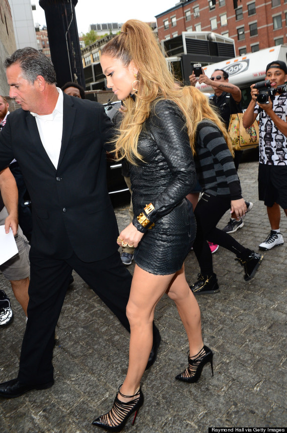 Jennifer Lopez Steps Out In A Leather Lbd Huffpost